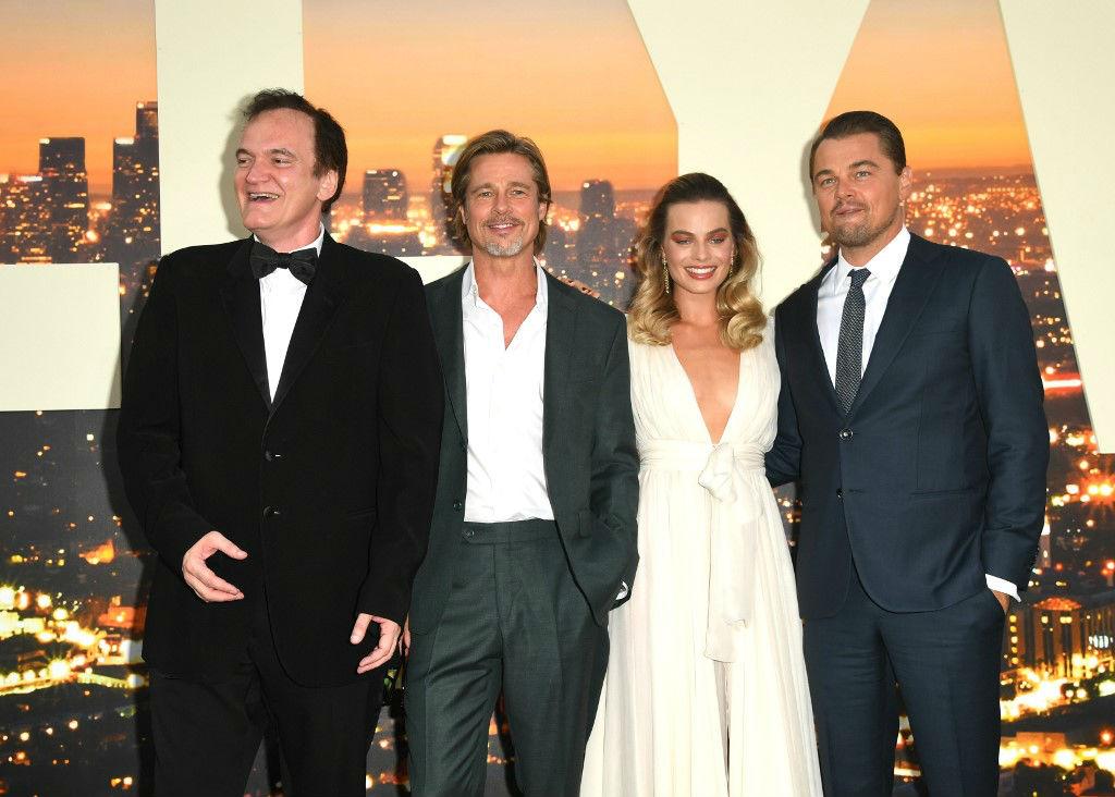 Quentin Tarantino, Brad Pitt, Margot Robbie y Leonardo DiCaprio en la premiere de Había una vez en Hollywood