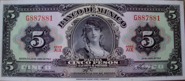 billete de 5 pesos mexicanos antiguo mujer gitana gloria faure