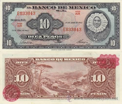 billete antiguo diez pesos mujer tehuana estela ruiz