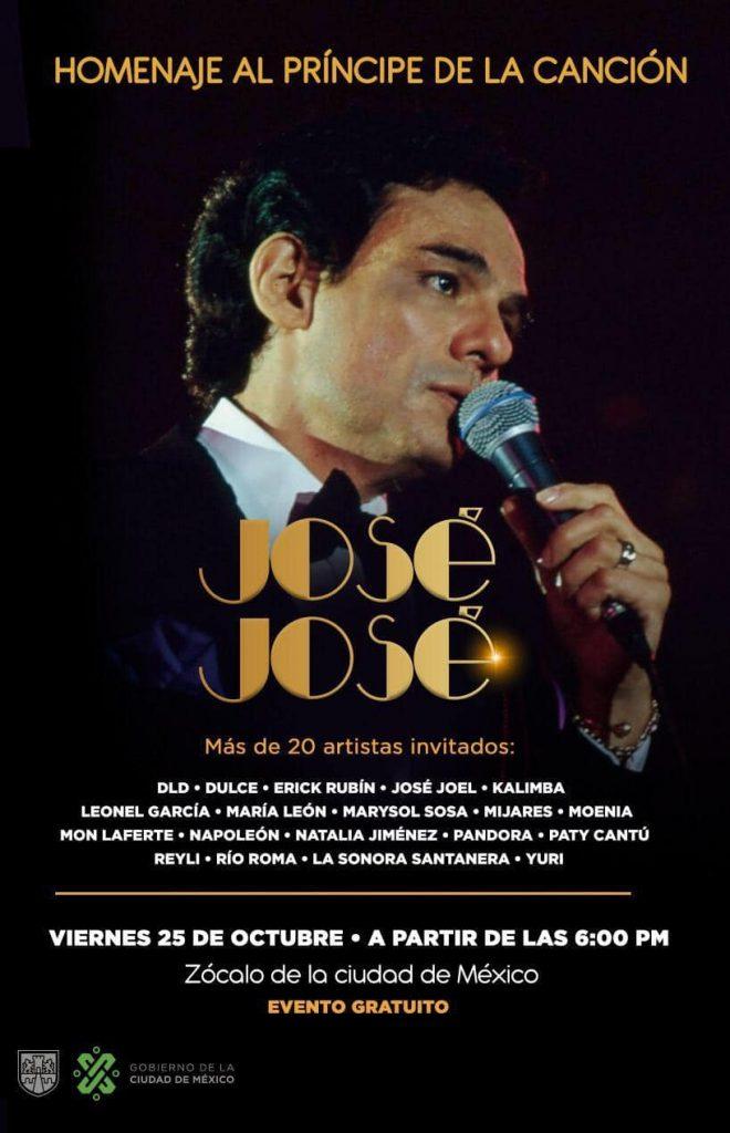 Cartel del homenaje a José José en el Zócalo. Foto: CDMX