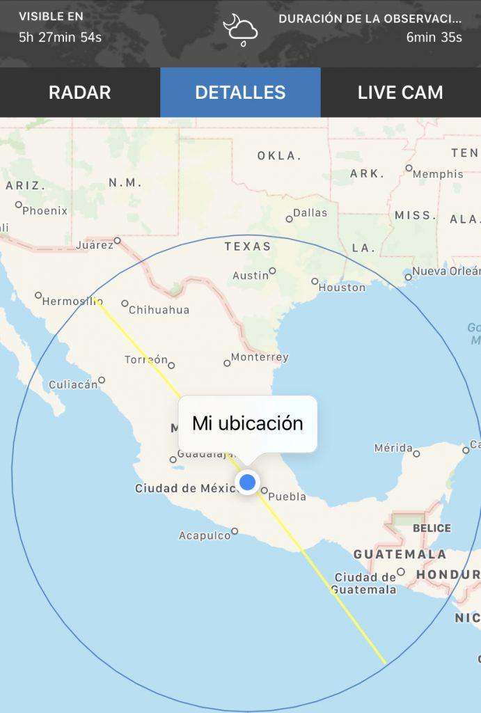 Recorrido de la Estación Espacial Internacional. Foro: ISS Detector app