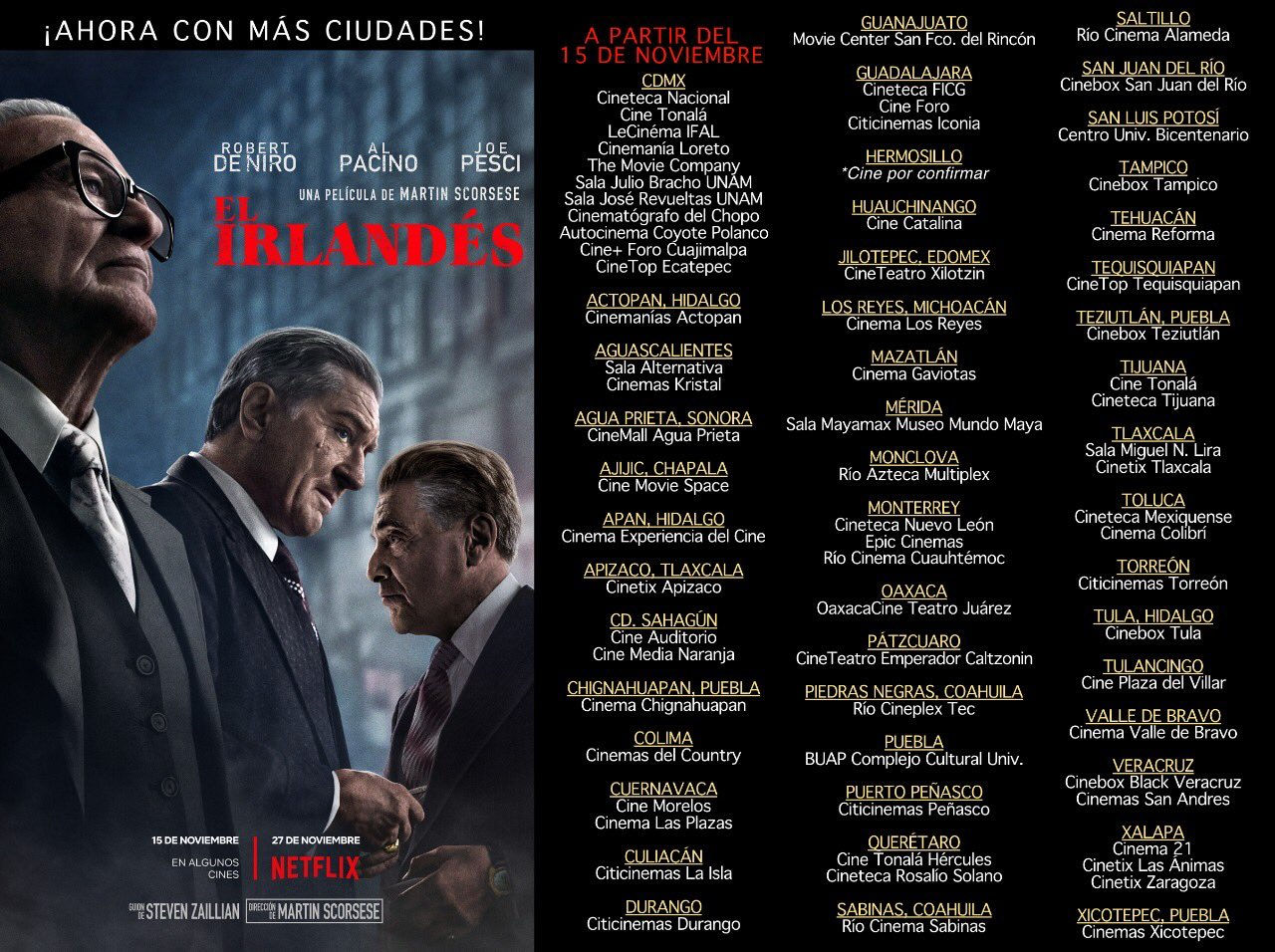 The Irishman en que cines de mexico se estrena
