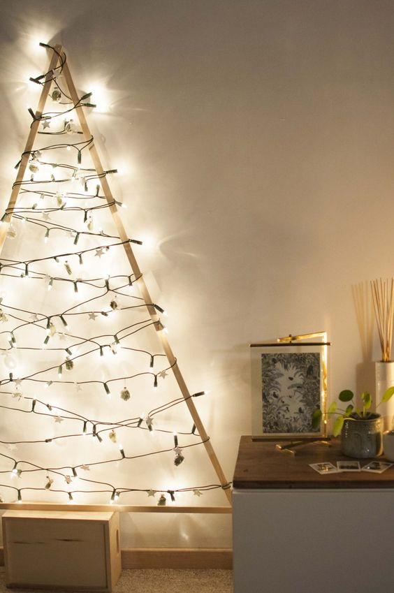 árboles De Navidad En La Pared Para Decorar Tu Primer Depa