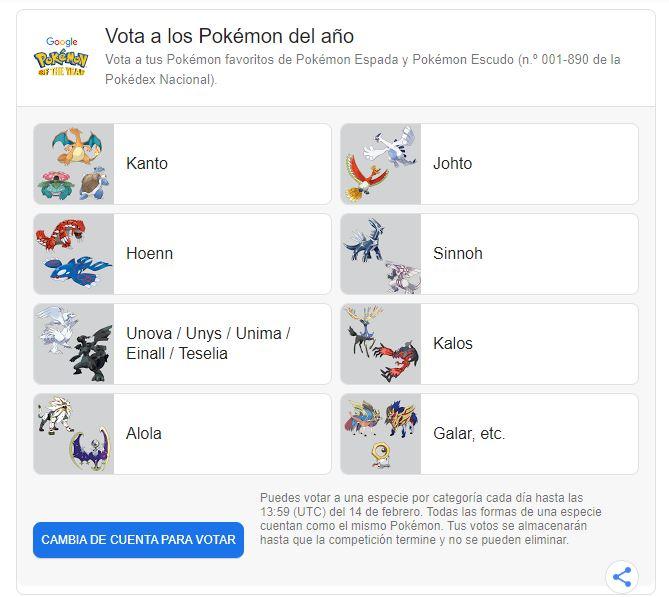 Corre y responde la encuesta para que tu Pokémon favorito sea el personaje del año