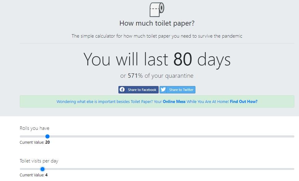El sitio te dice cuántos rollos necesitas para sobrevivir. Foto: How Much Toilet Paper?