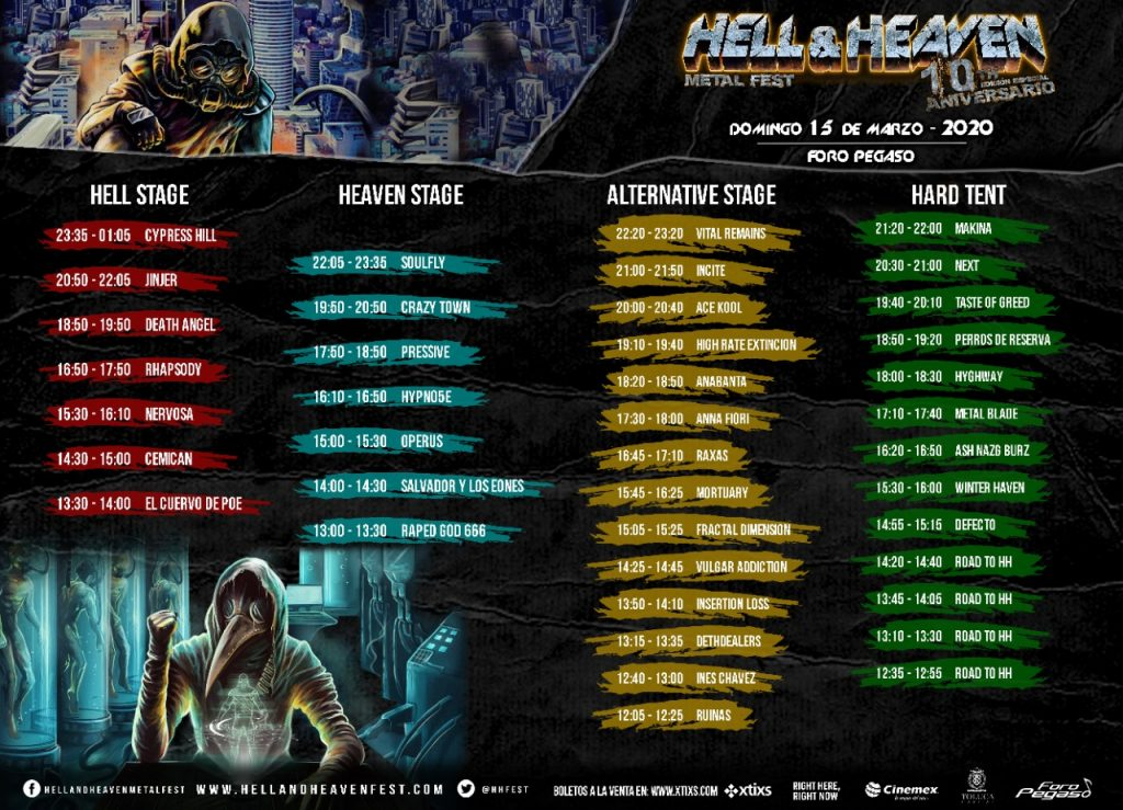 Horarios del Hell and Heaven 2020 del domingo.