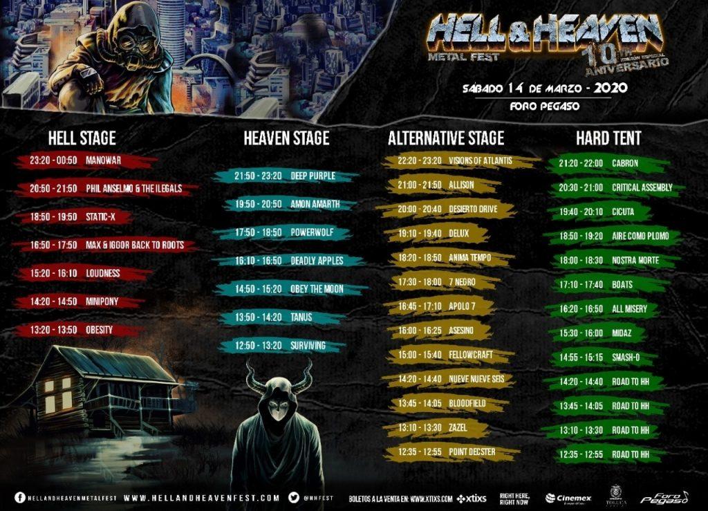 Horarios del Hell and Heaven 2020 del sábado.