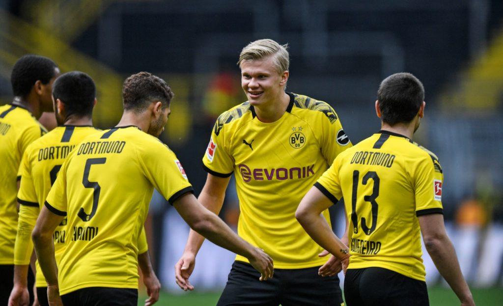 Haaland anotó el primer gol. Foto: AFP
