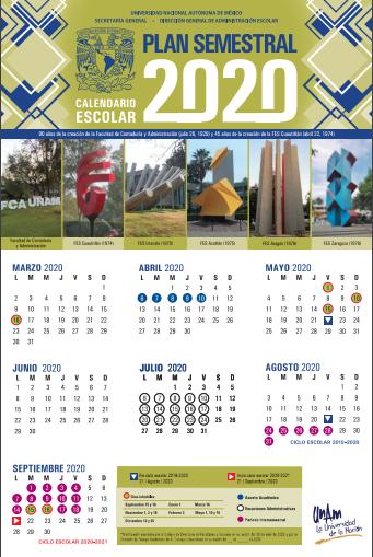 nuevo calendario escolar unam plan semestral unam 2020