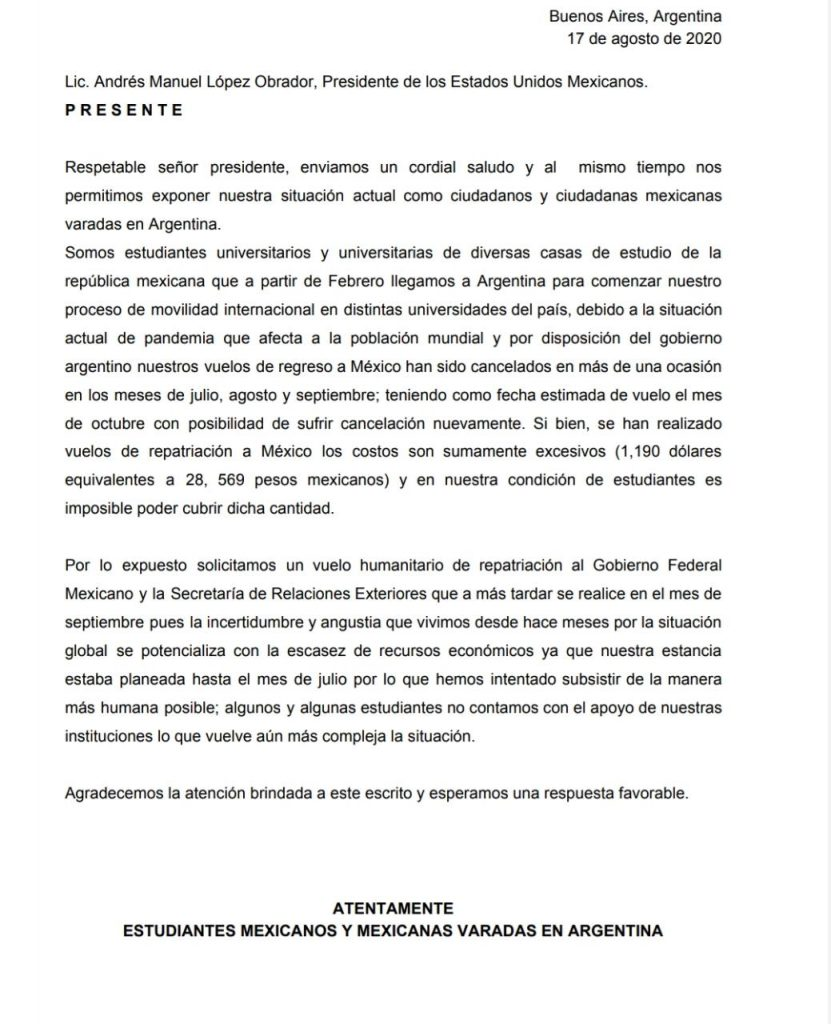 La carta está dirigida al presidente Andrés Manuel López Obrador. Foto: Cortesía
