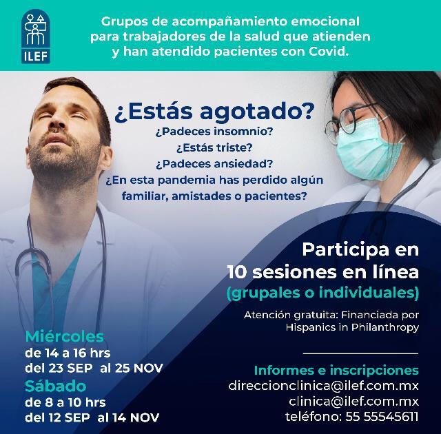 El ILEF ofrece talleres de 10 sesiones de acompañamiento emocional a personal médico.