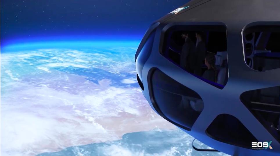 La cápsula alcanzaría unos 40 km de altitud y los pasajeros podrían ver la curvatura de la Tierra. Foto: YouTube EOS-X Space