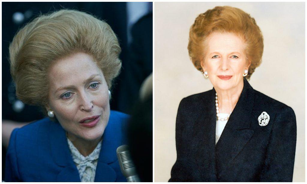 Gillian Anderson como Margareth Thatcher en The Crown, de Netflix. Fotos: Netflix y Wikimedia Commons