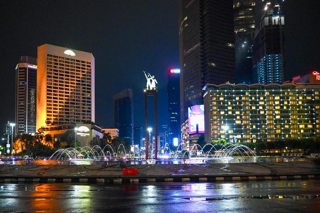 Centro de Jakarta en Año Nuevo, Indonesia. Foto: AFP