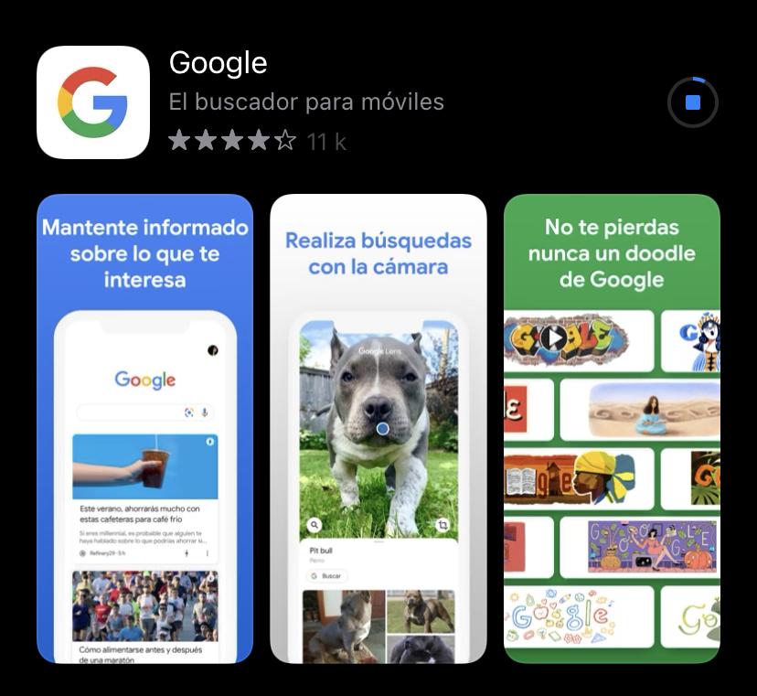 App de Google. App Store.