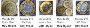 monedas 10 pesos tablero