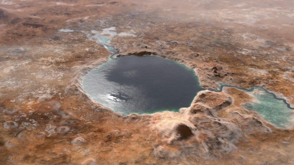 Cráter Jezero en Marte hace millones de años. Foto: NASA