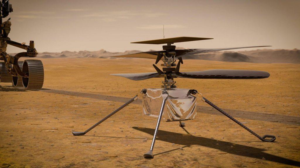 El helicótero Ingenuity viaja dentro de la robot Perseverance. Foto: NASA