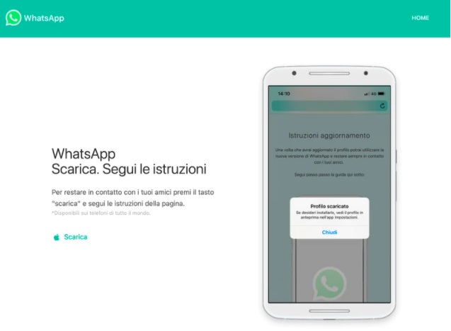 Los hackers engañan a los usuarios con una página que parece oficial de WhatsApp. Foto: Citizen Lab