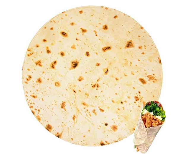 Cobija en forma de tortilla de harina. Dónde comprar. Foto: Amazon