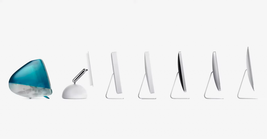 En esta foto puedes ver cómo evolucionó el hardware de las iMac, desde la primera generación, hasta la anterior al chip M1. Foto: Apple