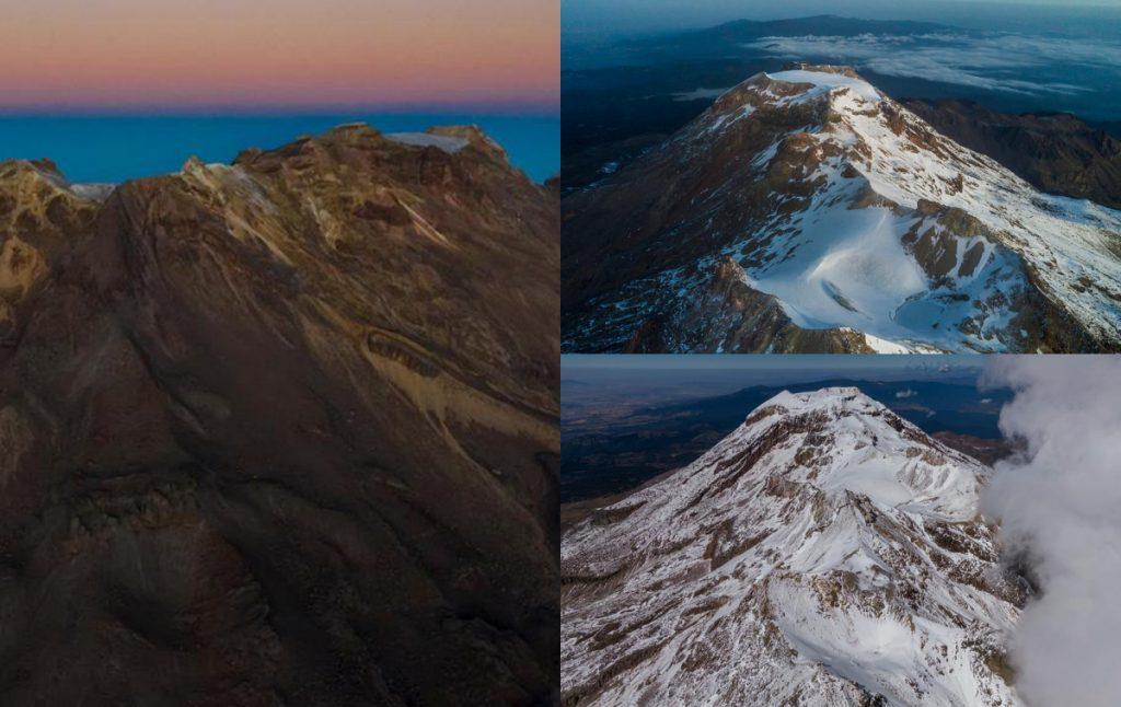Con la desparición del glaciar Ayoloco, el volcán Iztaccíhuatl ya no tiene hielo ni agua dulce en la cima. La mujer dormida se quedó sin hielo. Foto: UNAM