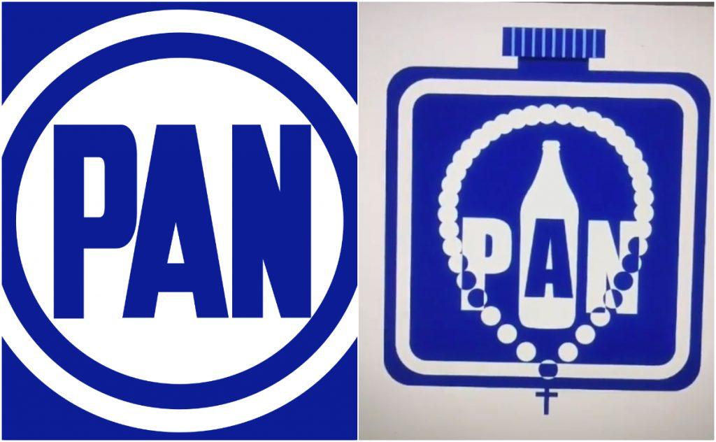 Un diseñador en TikTok rehizo el logo del PAN. Imágenes: Wikipedia y Jesús Pasillas TikTok