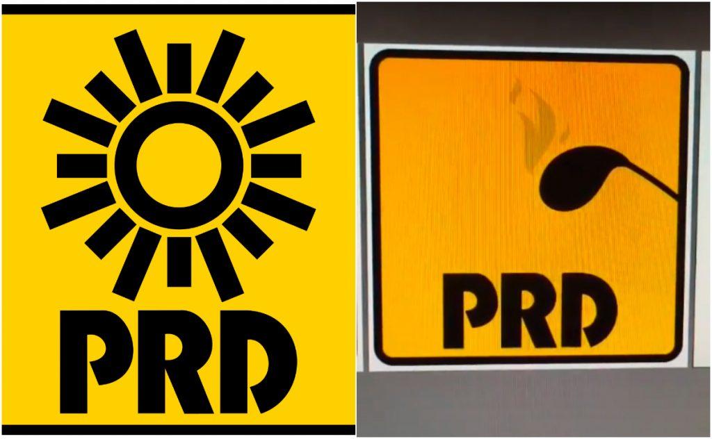 El logo del PRD que rediseñó un chico en TikTok. Imágenes: Wikipedia y Jesús Pasillas TikTok