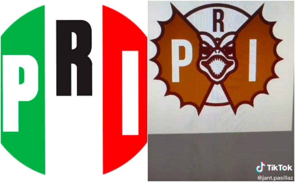 Rediseño del logo del PRI. Imágenes: Jesús Pasillas TikTok
