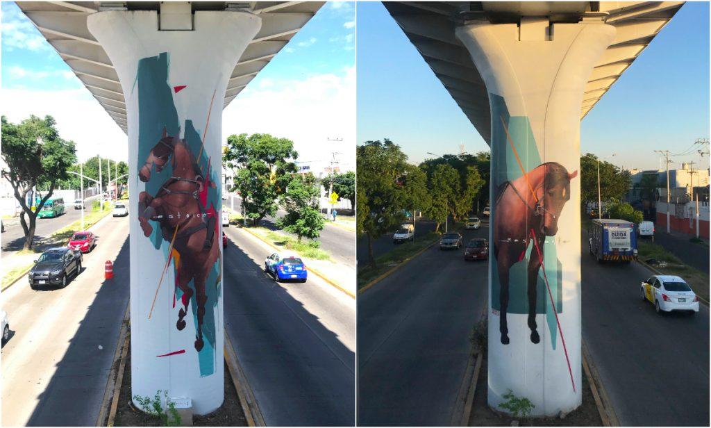 """""""Estoico y Resiliente"""", obra hecha en Zapopan, Jalisco. Pintura Vinílica y Aerosol. Foto: Cortesía Ramsteko"""