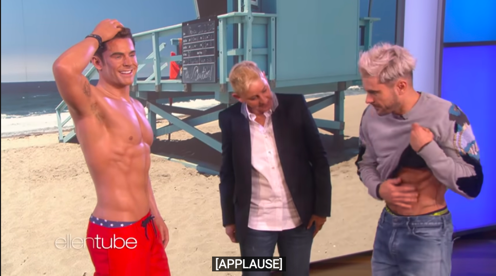 Zac Efron criticó la presión a la que se enfrenta por tener un 'cuerpo perfecto'. Foto: The Ellen Show