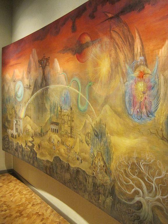 """""""El mundo mágico de los mayas"""", el mural de Leonora Carrington. Foto: Wikimedia Commons"""
