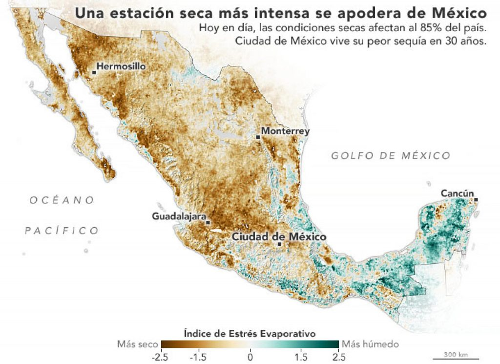 La NASA señaló que es la peor sequía en México desde hace 30 años. Foto: NASA
