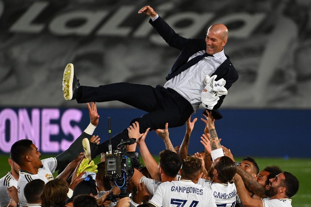 En julio de 2016, Zinedine Zidane y el Real Madrid ganaron La Liga española. Foto: AFP