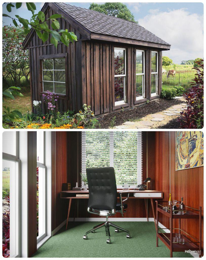 Si Don Draper de Mad Men trabajara en su jardín, esta oficina sería suya. Foto: HouseholdQuotes
