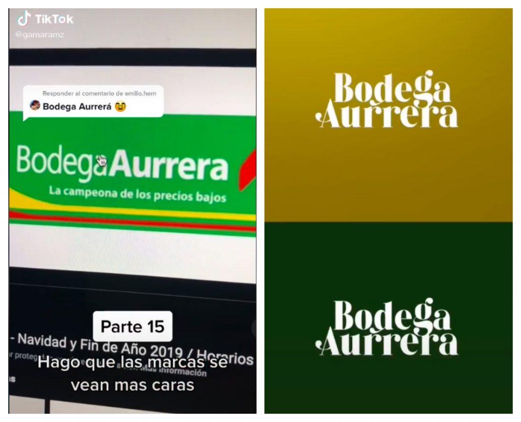 Gama Ramírez rediseña logos como el de Bodega Aurrera por puro hobbie. Este diseñador publica en tiktok el rediseño de logos de empresas mexicanas. Imágenes: TikTok @gamaramz