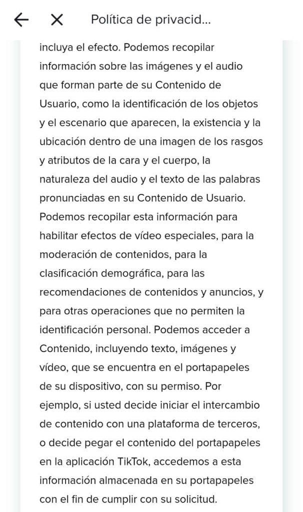 """La política de privacidad la puedes encontrar dentro de la app en el menú de """"Ajustes y privacidad"""". Foto: TikTok"""