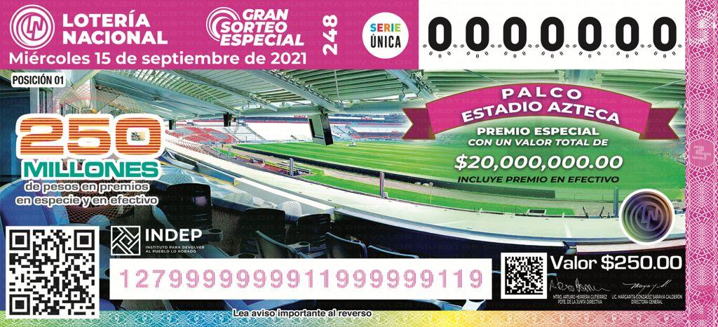 Así será el billete de la Lotenal para rifar inmuebles y un palco en el Azteca.