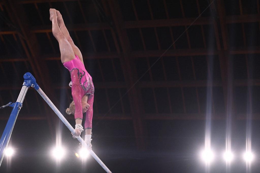 Angelina Melnikova, del Comité Olímpico Ruso, ganó medalla de bronce en el all around de Tokio 2020. Foto: Martin Bureau | AFP