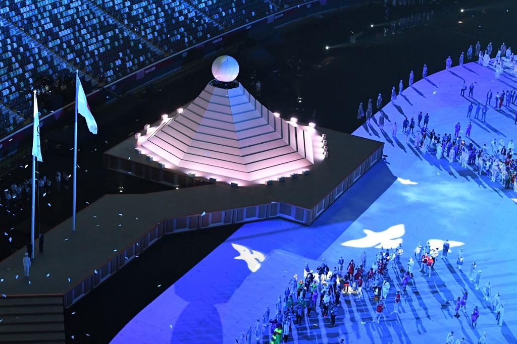 El Monte Fuji y el Sol Naciente son dos de los símbolos representativos de Japón y fueron representados durante la ceremonia de inauguración de los Juegos Olímpicos. Foto: François-Xavier Marit   AFP