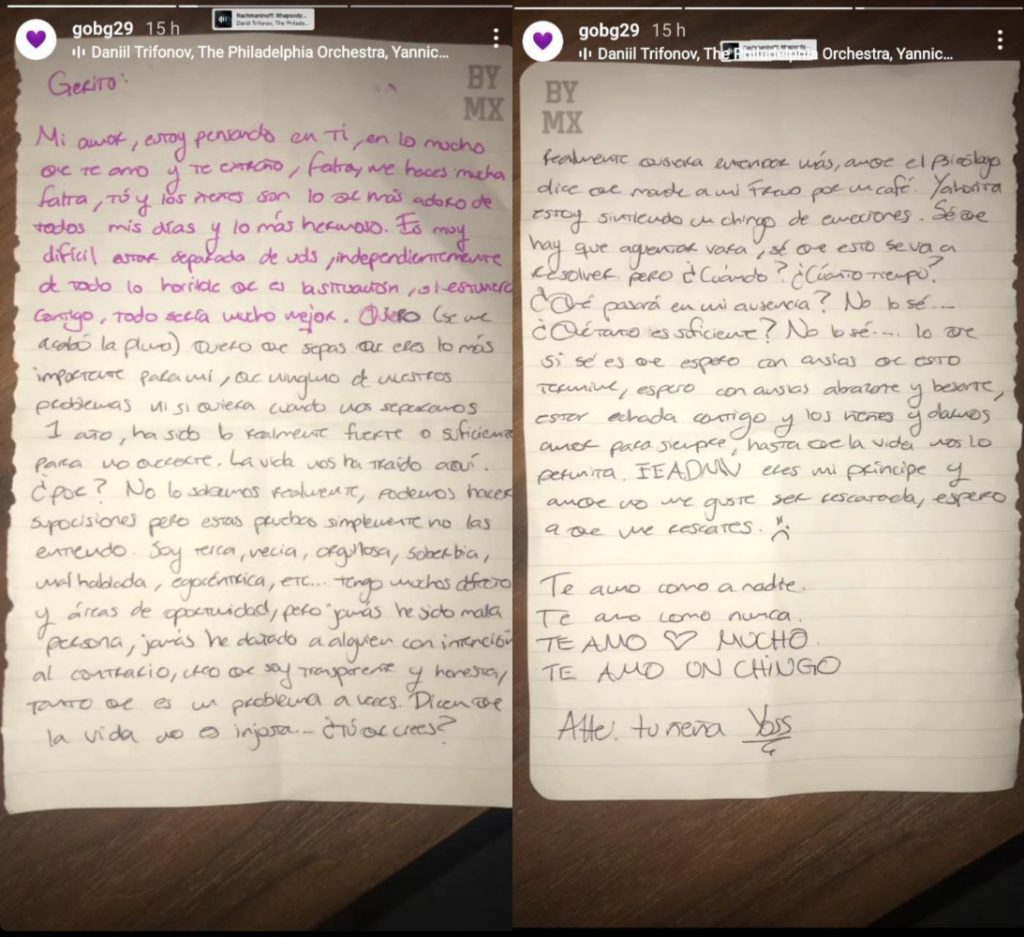El novio de YosStop compartió la carta que la influencer le escribió en sus redes sociales. Instagram: @gobg29