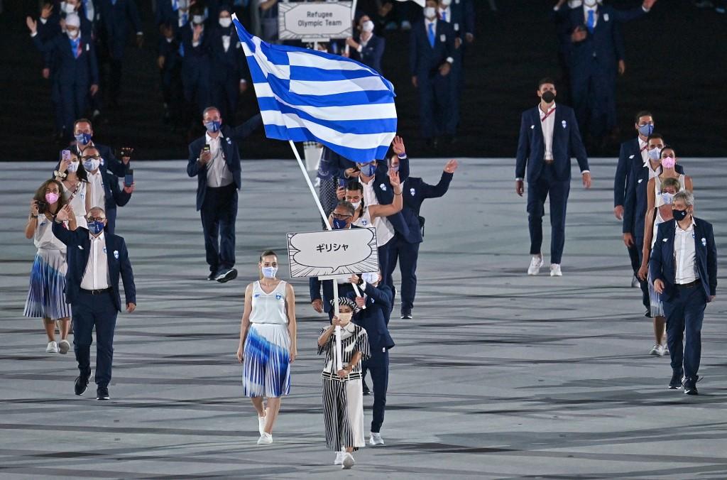 La delegación de Grecia siempre inicia el desfile de los Juegos Olímpicos. Foto: Ben Stansall   AFP