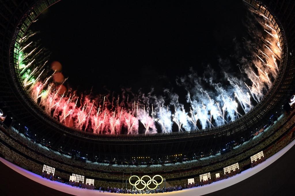 La inauguración de los Juegos Olímpicos de 2020 se realiza en el Estadio Olímpico de Tokio. Foto: Andrej Isakovic   AFP