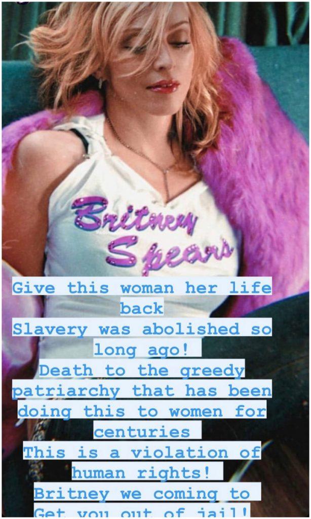 Mensaje de Madonna a favor de #Free Britney Spears. Foto: IG @Madonna