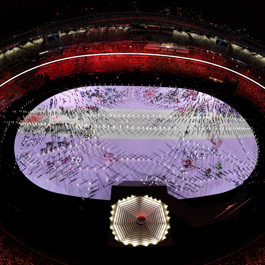 Vista aérea del Estadio Olímpico de Tokio en la inauguración de Tokyo 2021. Foto: François-Xavier Marit   AFP