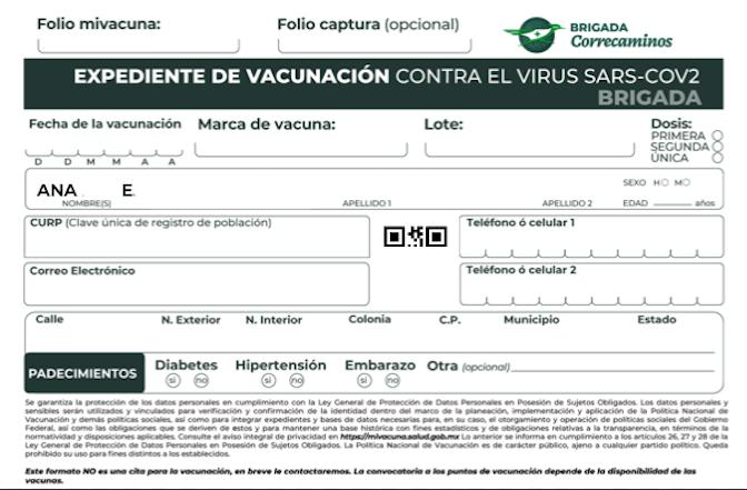 Expediente de vacunación covid-19 para eprsonas de 30 a 39 años.