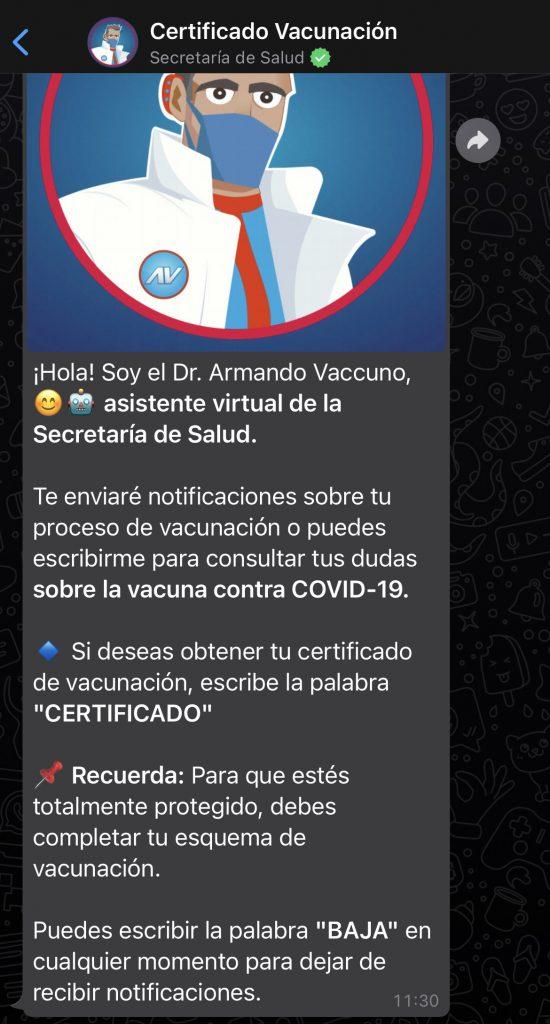 Chatbot de la Secretaría de Salud federal para obtener tu certificado de vacunación covid-19.