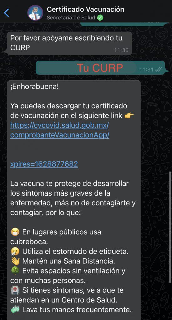 Dr. Armando Vaccuno es el chatbot de la Secretaría de Salud que te puede dar tu certificado de vacunación por WhatsApp.