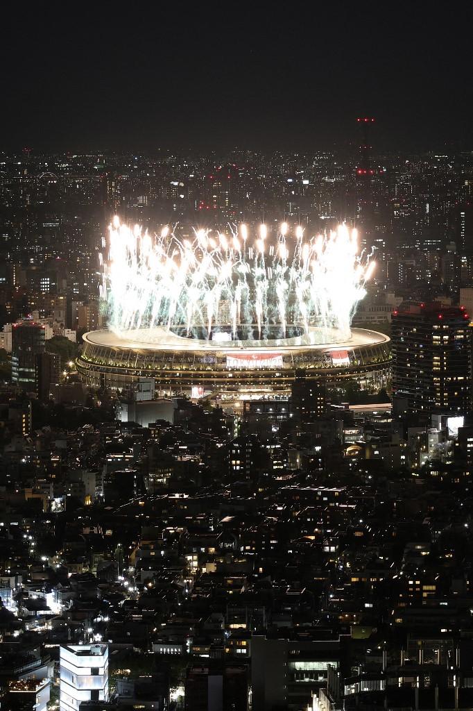 El estadio olímpico de tokio durante la ceremonia de inauguración de los Juegos Paralímpicos 2020. Foto: Behrouz Mehri | AFP