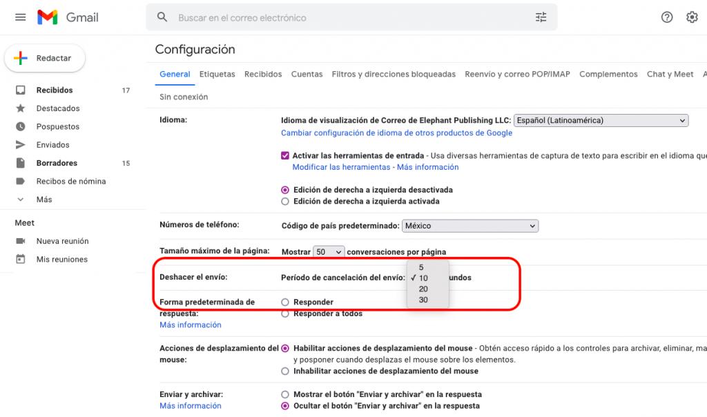 Gmail, configuración para deshacer envío de correo.